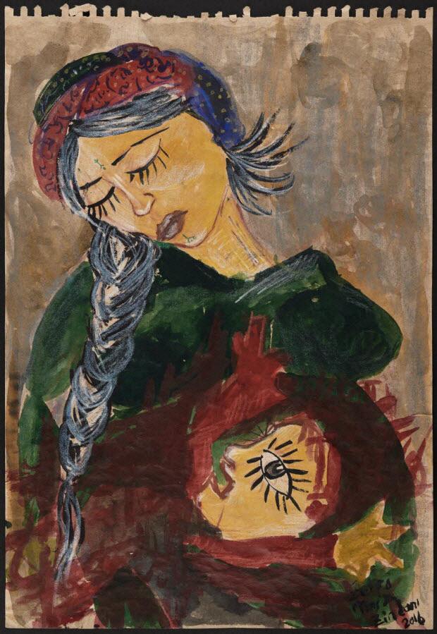 dessin - Femme à la tresse et enfant
