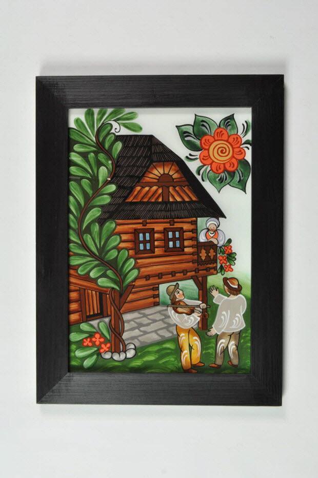 peinture sous verre - Aubade à une belle sur son balcon