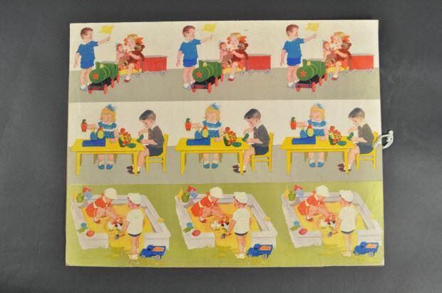 PLANCHE EDUCATIVE - Trois jeux d'enfants: train, table, bac à sable