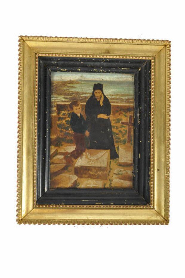 tableau - Femme bretonne au cimetière