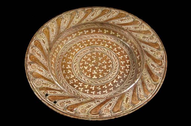 bassin - Bassin hispano-mauresque à décor de lustre métallique