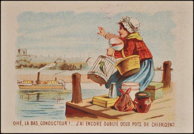carte réclame - OHE, LA BAS, CONDUCTEUR !... J'AI ENCORE OUBLIE DEUX POTS DE CHIENDENT