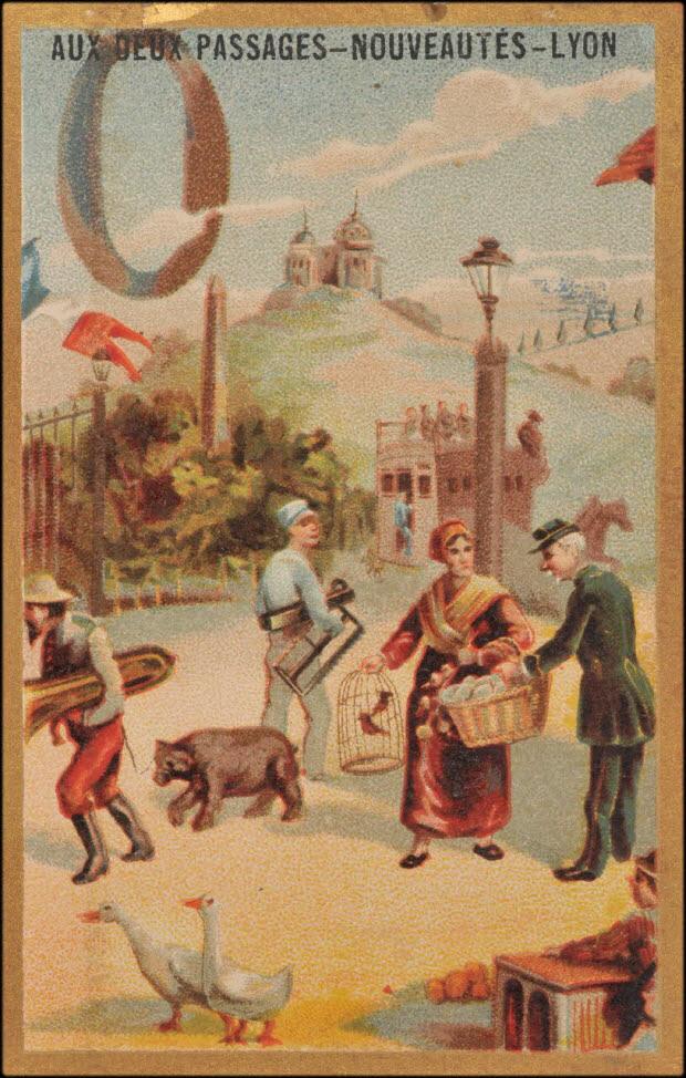 carte réclame - O -Scènes avec un ours et des oies