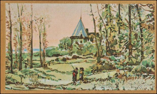 carte réclame - Deux femmes dans un champ