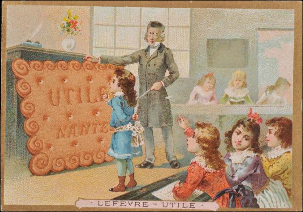 carte réclame - Dans une salle de classe, un instituteur montre à un enfant un biscuit LU géant.