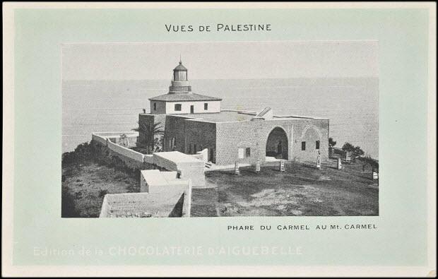 carte postale publicitaire - VUES DE PALESTINE PHARE DU CARMEL AU Mt. CARMEL