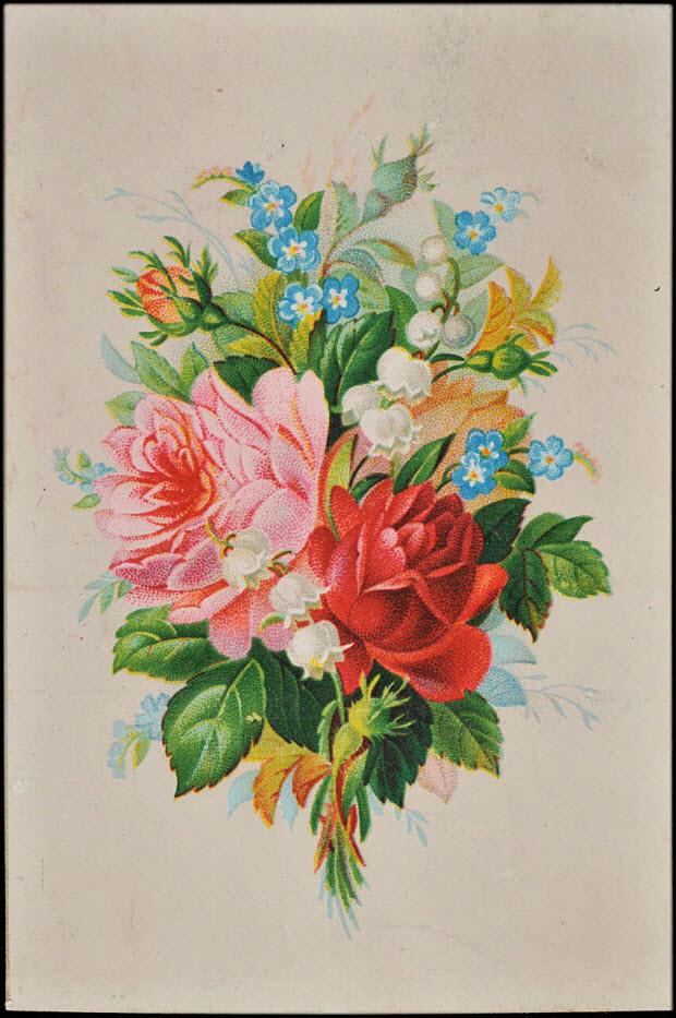 carte réclame - Bouquet de fleurs