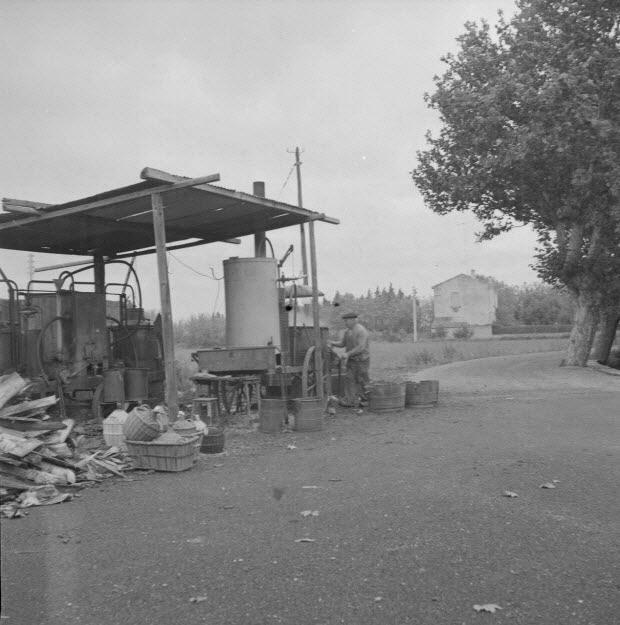 photographie - L'alambic de Monsieur Jean Caban, distillateur au travail. Il a soulevé le couvercle de la cuve ayant contenu le marc qui vient de bouillir