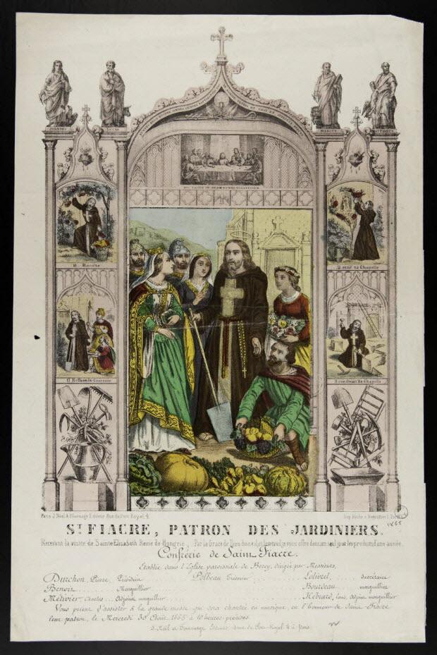 estampe - St. FIACRE, PATRON DES JARDINIERS.