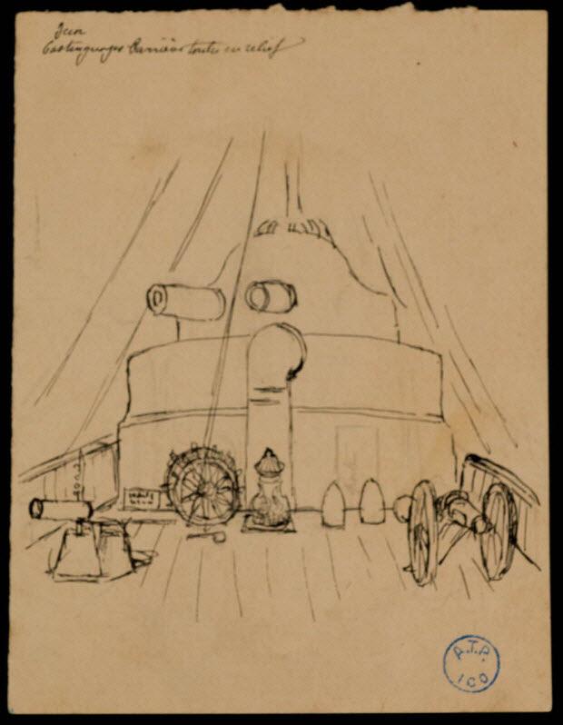 partie d'un ensemble de dessins - Décor de pont de bateau