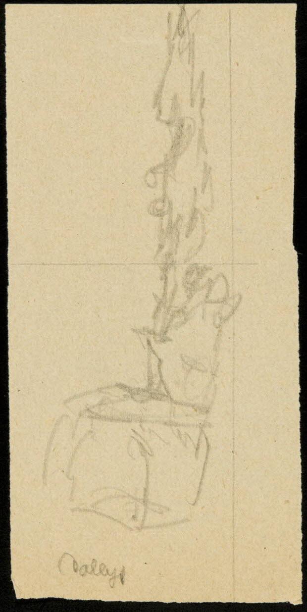 partie d'un ensemble de dessins - Esquisse de décor de cirque