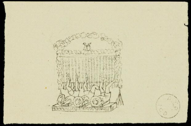 partie d'un ensemble de dessins - Les Lorrain accompagnés par l'orchestre