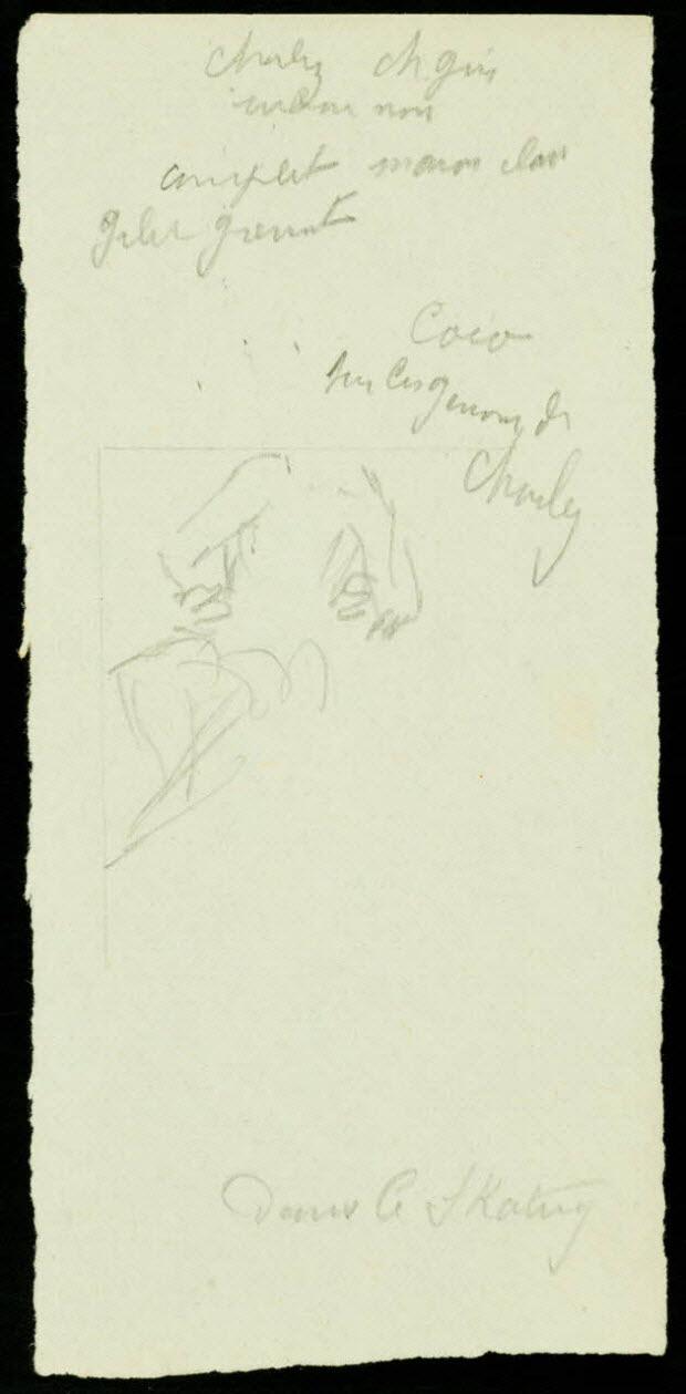 partie d'un ensemble de dessins - Coco sur les genoux de Charley