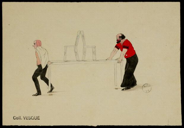 partie d'un ensemble de dessins - Artistes de cirque transportant une table surmontée de deux chaises