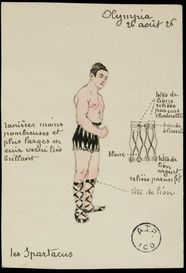 partie d'un ensemble de dessins - Olympia 26 août 26 Les Spartacus