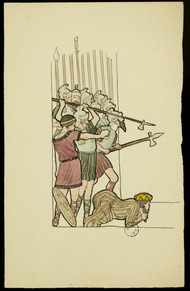 partie d'un ensemble de dessins - Groupe de soldats romains