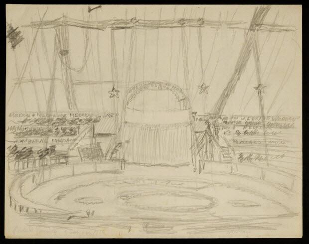 partie d'un ensemble de dessins - Porte de Versailles 9 mai 1936 Medrano