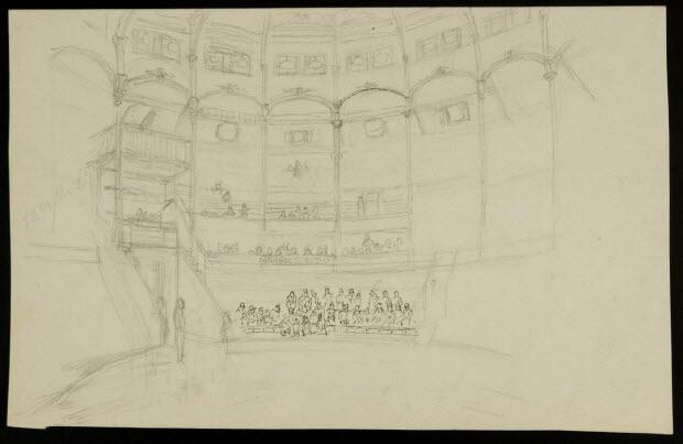 partie d'un ensemble de dessins - Vue intérieure d'un cirque
