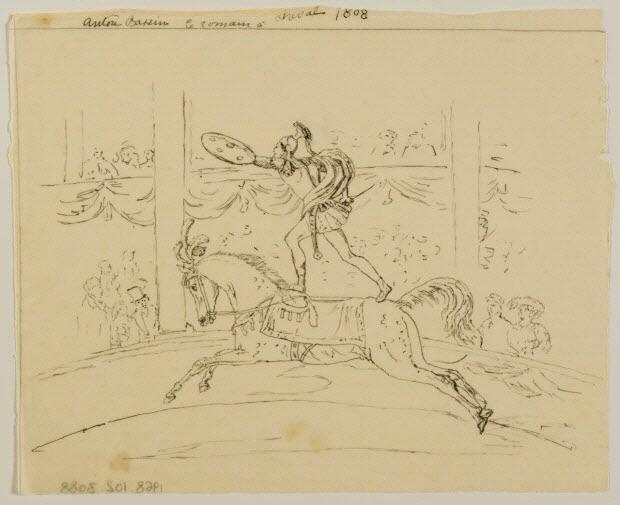 partie d'un ensemble de dessins - Anton Bassin le romain à cheval