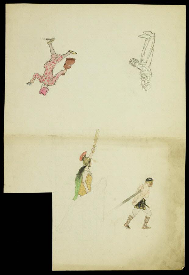 partie d'un ensemble de dessins - Artistes du cirque