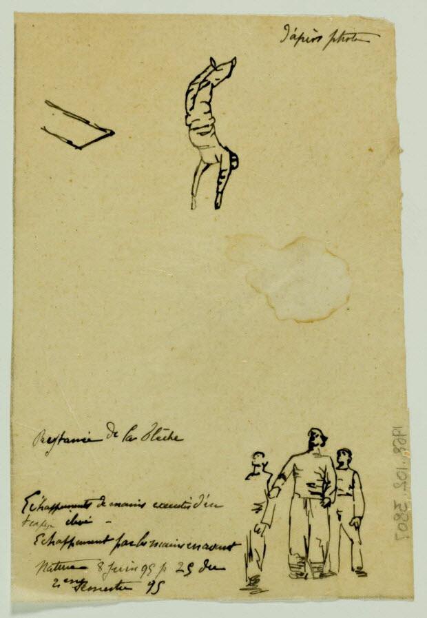partie d'un ensemble de dessins - Echappements de mains exécutés d'un trapèze élevé