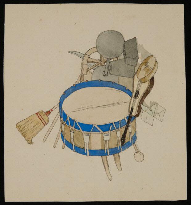 partie d'un ensemble de dessins - Instruments de musique et matériel de cirque
