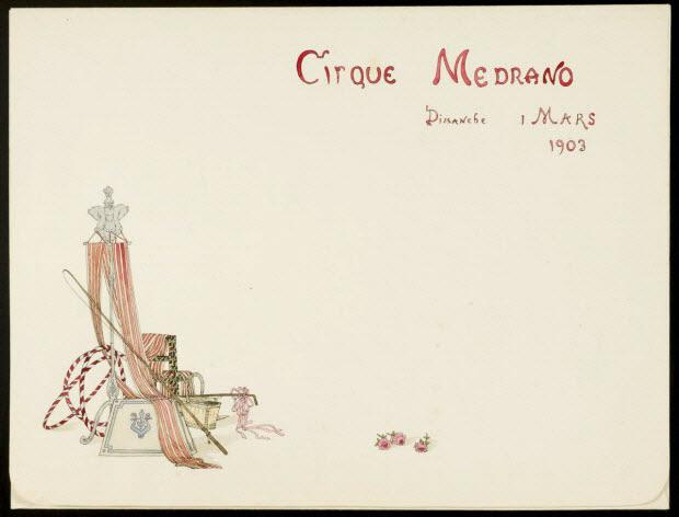 partie d'un ensemble de dessins - CIRQUE MEDRANO DIMANCHE 1 MARS 1903