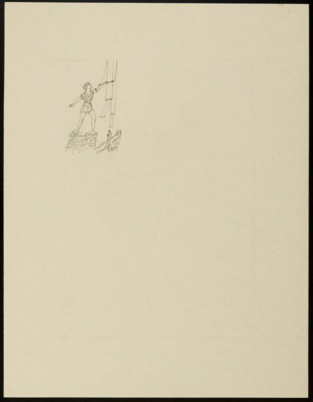 partie d'un ensemble de dessins - Homme tenant un trapèze