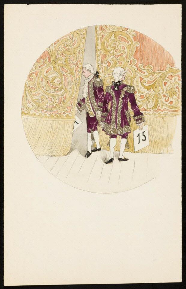partie d'un ensemble de dessins - Homme passant derrière les rideaux d'une scène de théâtre