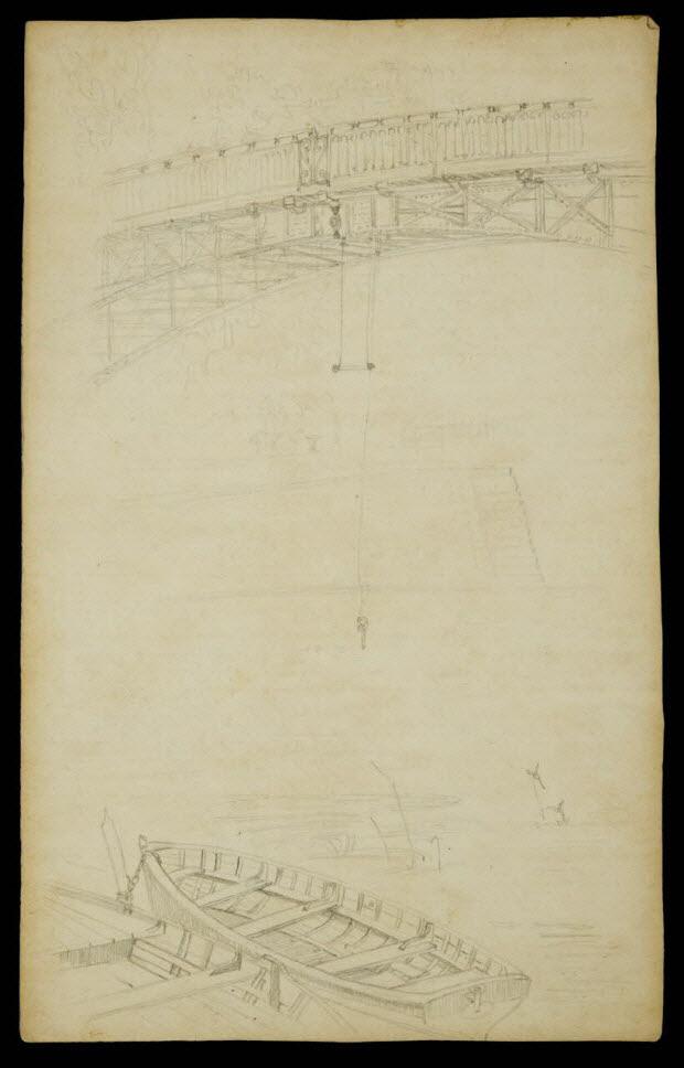 partie d'un ensemble de dessins - Trapèze suspendu à un pont