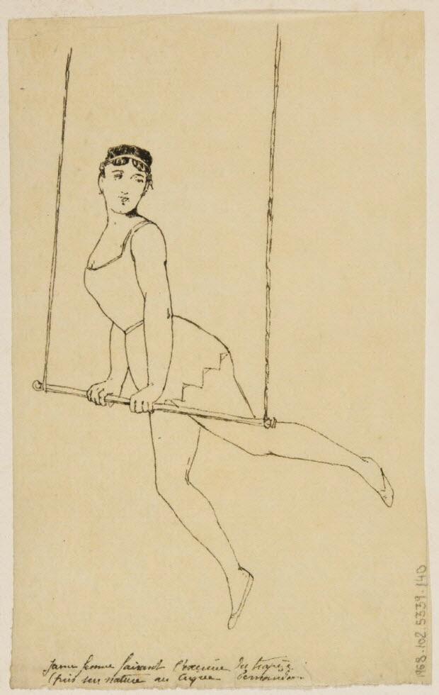 partie d'un ensemble de dessins - Jeune femme faisant l'exercice du trapèze