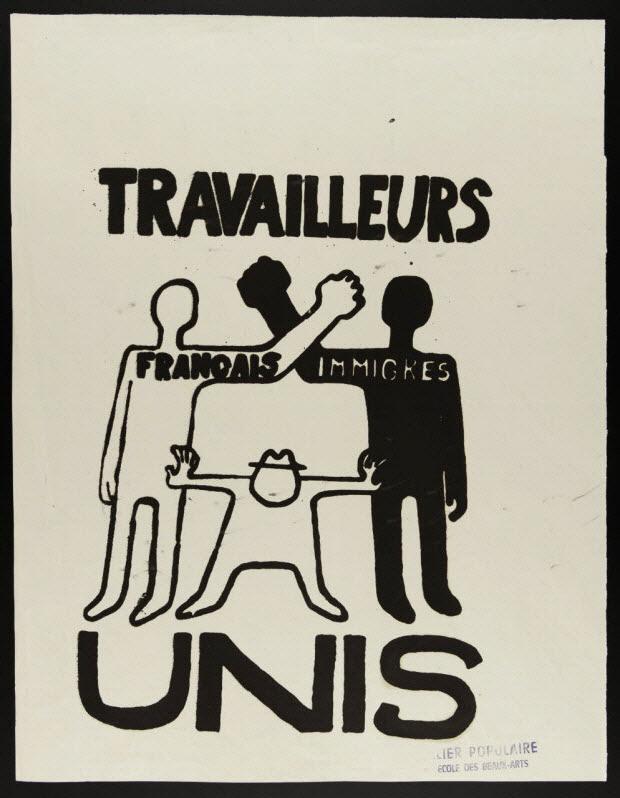 affiche - Travailleurs français immigrés unis