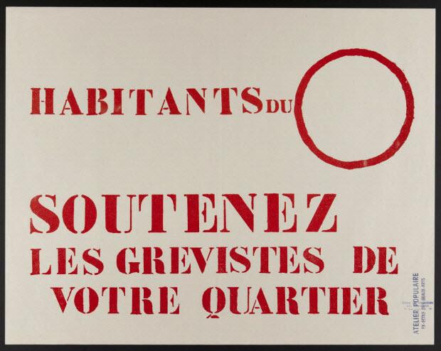 affiche - HABITANTS DU... SOUTENEZ LES GREVISTES DE VOTRE QUARTIER