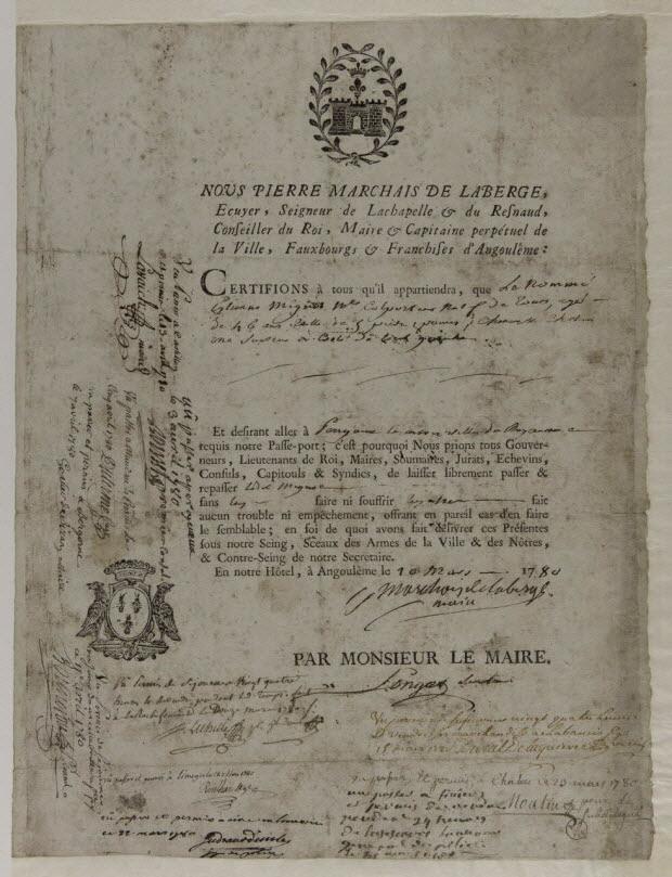 estampe - Laissez-passer daté 1780