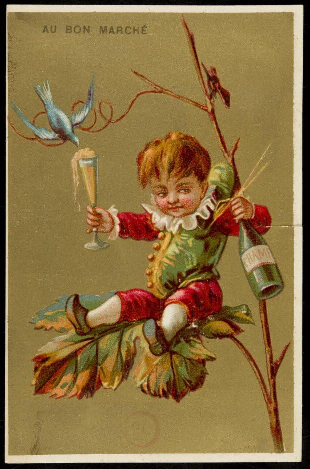carte réclame - Enfant déguisé en bouffon assis sur une branche, avec une bouteille et un verre de vin à la main
