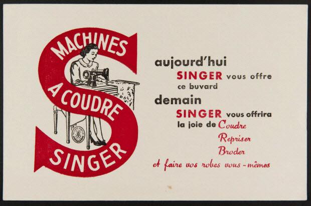buvard publicitaire - MACHINES A COUDRE SINGER