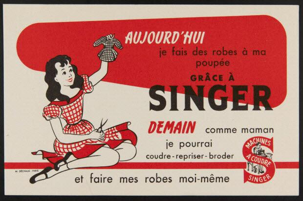buvard publicitaire - AUJOURD'HUI je fais des robes à ma poupée GRACE A SINGER