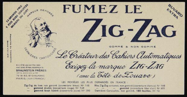 buvard publicitaire - FUMEZ LE ZIG-ZAG GOMME & NON GOMME