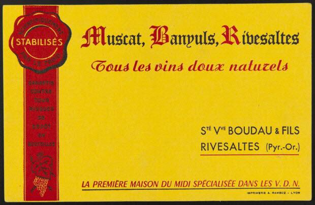 buvard publicitaire - Muscat, Banyuls, Rivesaltes Tous les vins doux naturels