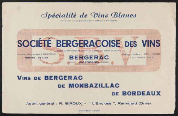 buvard publicitaire - Spécialité de Vins Blancs SOCIETE BERGERACOISE DES VINS