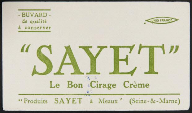 """buvard publicitaire - """"SAYET"""" Le Bon Cirage Crème"""