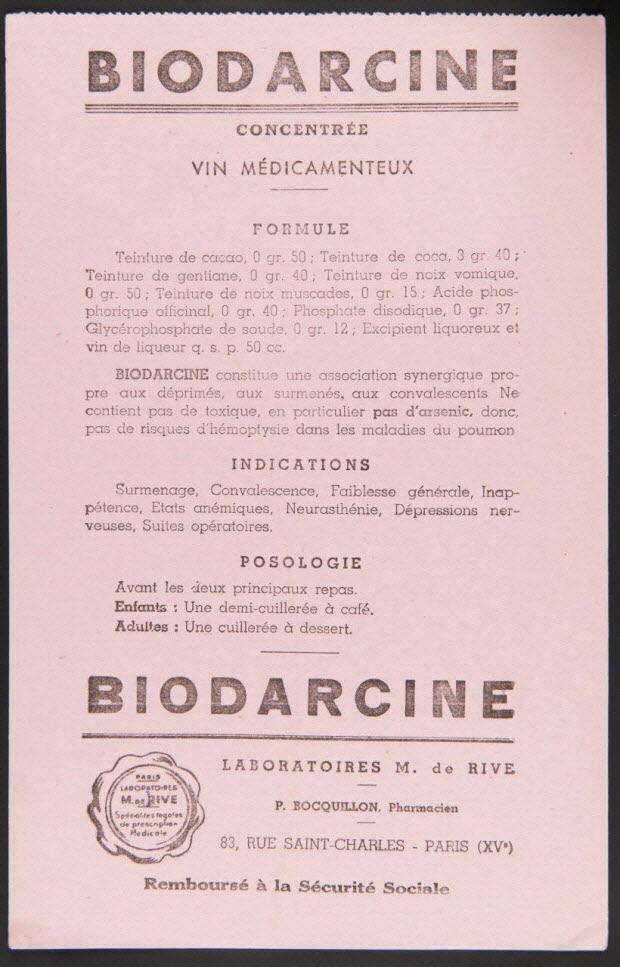 buvard publicitaire - BIODARCINE CONCENTREE VIN MEDICAMENTEUX