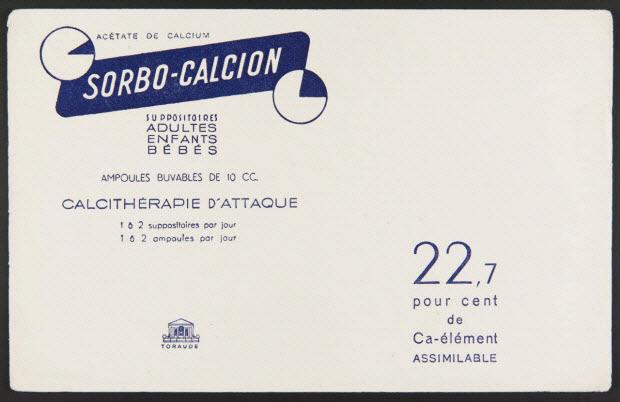 buvard publicitaire - ACETATE DE CALCIUM SORBO-CALCION