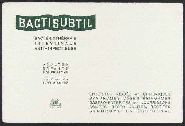 buvard publicitaire - BACTISUBTIL BACTERIOTHERAPIE INTESTINALE ANTI-INFECTIEUSE