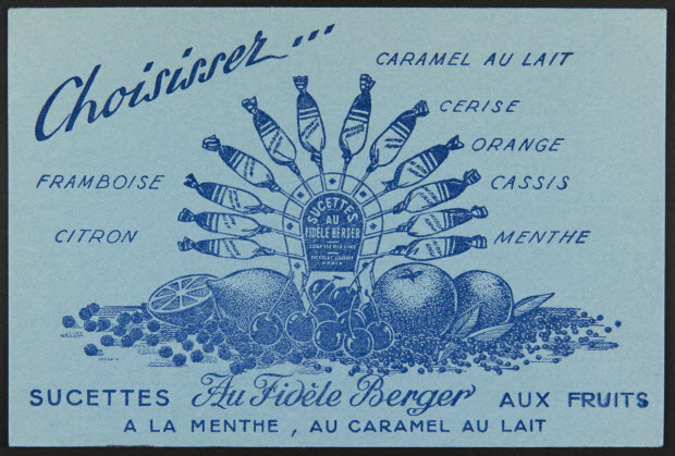 buvard publicitaire - Choisissez... SUCETTES Au Fidèle Berger
