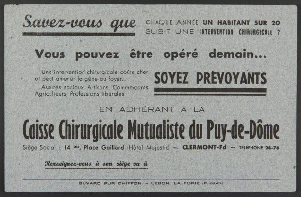 buvard publicitaire - Caisse Chirurgicale Mutualiste du Puy-de-Dôme