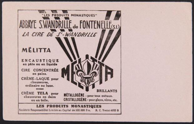 """buvard publicitaire - """"LES PRODUITS MONASTIQUES"""" ABBAYE S. WANDRILLE de FONTENELLE (S.I.) LA CIRE DE St-WANDRILLE"""