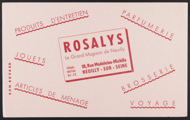 buvard publicitaire - ROSALYS Le Grand Magasin de Neuilly