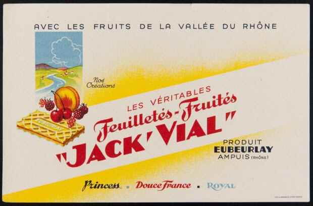 """buvard publicitaire - LES VERITABLES Feuilletés - Fruités """"JACK'VIAL"""""""