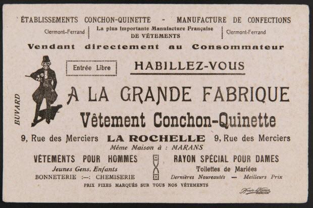 buvard publicitaire - Vêtement Conchon-Quinette